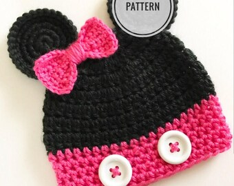 Crochet pattern, Minnie Mouse hat, Minnie mouse beanie tutorial