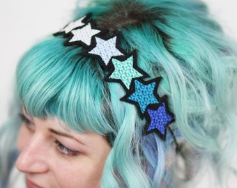 Blue Gradient Stars Headband,  Blue, Turquoise, Silver, White