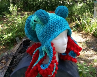 Tentacled Octopus hat, sea creatures, Octopus hat, steampunk hat, snowboard hat, squid hat, Cthulhu, cosplay, Tentacles, tentacle hat