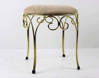 midcentury hollywood regency golden stool chair bedroom chair dressing table stool sturdy 1960