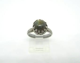 Labradorite Ring, Handmade Sterling Silver and Labradorite Ring, Flashy Labradorite Ring,