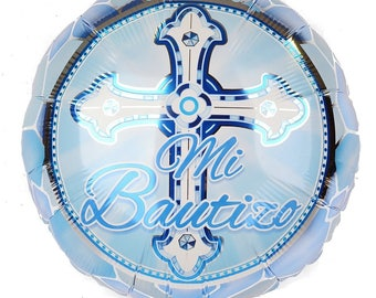 "18"" Cross Blue ""Mi Bautizo"" Foil Balloon"