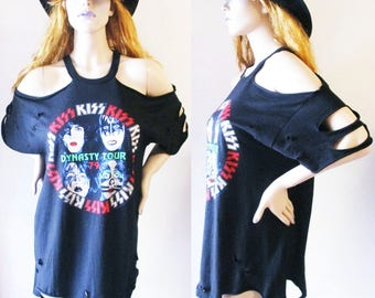Kiss distressed shirts dress or top S-XL off the shoulder band tee