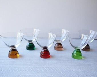 Vintage Rainbow Liqueur Glasses - Set Of 6