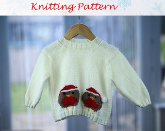 Christmas Robins Jumper knitting pattern to fit 6, 12, 18, 24 month old baby or toddler by PDF