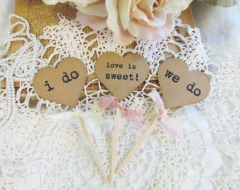 Wedding Cupcake Toppers Party Picks - Kraft Heart i do we do love is sweet - Set of 18 - bridal shower rustic wedding vintage style