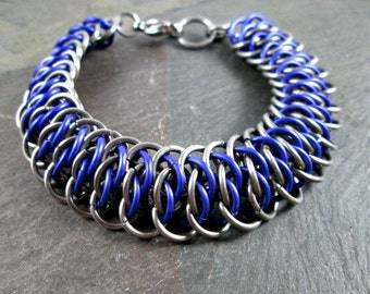 Chainmaille Bracelet - Viperscale Bracelet - Silver and Purple - Chainmail Bracelet - Chainmaille Jewelry