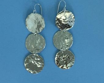 Triple Silver Hammered Disc  Earrings