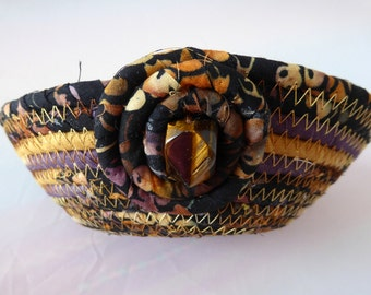 Petite Coiled Rope Basket - Tiger Eye Accent