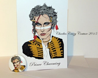 Adam Ant, Prince Charming card and badge