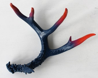 Painted Antler : Navy Blue, Magenta and Orange Ombre, Large