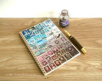 Postage Stamp Month Planner • Blue Purple Stamp Art, Original Art Journal, A5 Spiral • New Term, Eco GIft for Teacher, Boho Gift for Student