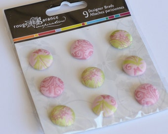 SALE Fabric Brads, Scrapbooking Brads, Pink Brads Set of 9 Pink and Green Sandylion Brads, New in Package