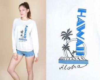 80s Hawaii Aloha Sweatshirt - Large // Vintage Palm Tree Graphic Travel Pullover