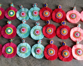 12 embroidered earrings with fringes