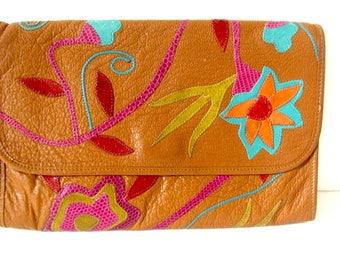 Vintage leather clutch, leather purse, 80s clutch bag, 80s leather bag, Carlos Falchi bag, tan leather clutch, cross body, Falchi tan clutch