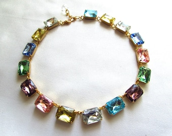 Pastel Crystal Necklace, Emerald Cut Crystal Necklace, Wintour Necklace, Georgian Paste Collet Riviere, Multicolor Colored Harlequin Jewelry