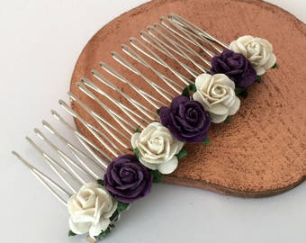 Purple Hair Comb, Ivory and purple rose Bridal Hair Comb, Wedding Hair Comb, Bridal Hair Accessories, Bridesmaid Hair Comb,