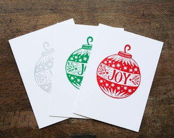Joy Christmas Holiday Cards, Linocut Block Print, Red Green or Silver, Handmade