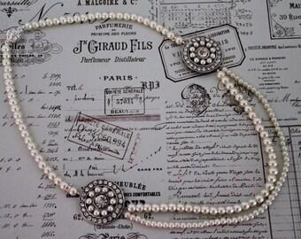 Statement Pearl Wedding Necklace - Art Deco Style Wedding Necklace - Rhinestone Necklace - Great Gatsby - Bridal