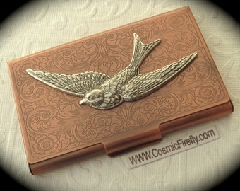 Copper Business Card Case Silver Bird Steampunk Card Case Bird Card Holder Gothic Victorian Style Card Case New Handcrafted Card Case Metal