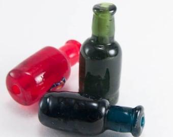 Handmade bottles lampwork beads /beading/ craft supplies/Bottle bead/Green glass/