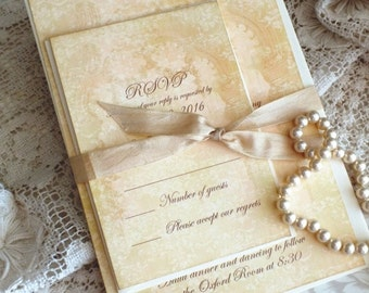 Elegant Romantic Vintage Wedding Invitation Handmade SAMPLE by avintageobsession on etsy