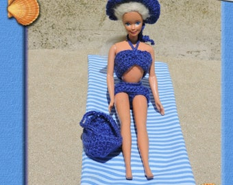swimsuit knitted hat, bag and fabric rag rug