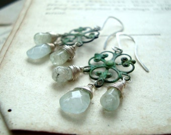Little Aquamarine Chandelier Earrings, Green Patina, Vintage Style, Spring, March Birthstone, Gifts Under 50 Gemstone Jewelry