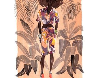 Fashion Illustration, Limited Edition Art Print, Watercolor Fashion, Fashion Art, Hawaii Art, Wall Art
