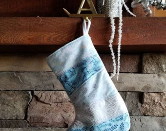 Silver and Blue Christmas Stocking OOAK Patchwork Christmas Stocking. Blue & Siver Christmas Stocking.   Quilted Stocking