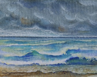 ACEO original - beach waves - OOAK