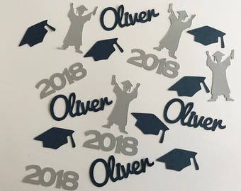 Personalized Graduation Confetti - Graduate, Year, Caps, and Name - Class of 2018 Grad Party
