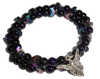 Fairy bracelet double wrap bracelet Purple Agate, geometrical bracelet black bracelet rainbow bracelet memory wire bracelet cuff bracelet