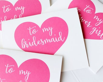 To My Bridesmaid Card, To my Maid of Honor, Wedding Party Thank You Cards, Thank you for Being My Bridesmaid card, (Set of 6) WCS002