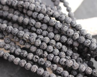 Uncoated! 4mm Lava Beads, Natural Lava, Full Strand or Half Strand, Aromatherapy, Essential Oil, Black Beads, Unwaxed Lava, Lava Beads, 4mm