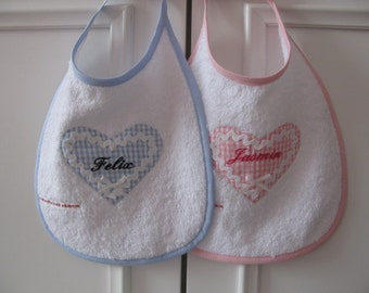bib with heart personalized