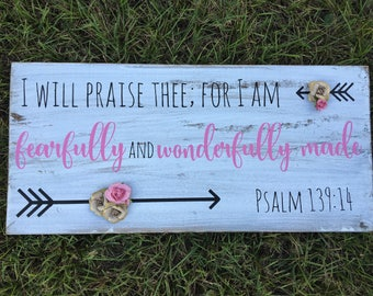 Shabby Chic Girl's bedroom Decor, Psalm 139:14 fearfully and wonderfully made sign