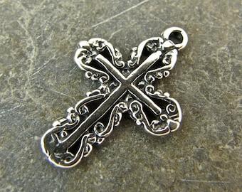 Filigree Cross - Sterling Silver Cross Charm or Petite Pendant - cfcpp