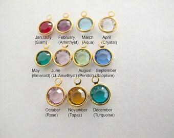 Gold Swarovski Crystal Birthstone Charm
