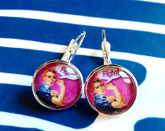 Rosie the Riveter Fight cabochon earrings- 16mm