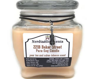 Nerd Candle | A Man and His Droid | White Tea Apricot Blend | 8.7oz Glass Jar | Paraffin Soy Scented Candle | Fandom Glitter Candle
