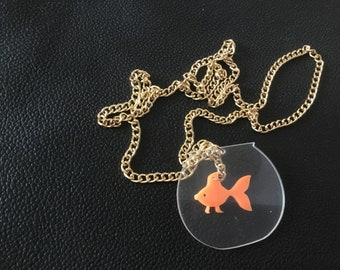 Goldie the goldfish necklace acrylic with bowl