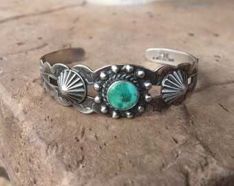 1930's Fred Harvey Era Navajo IH Coin Silver & Turquoise Concho Cuff Bracelet