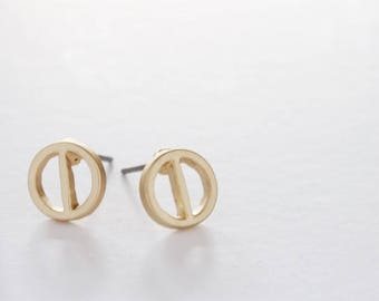 Circle with Bar Earring Studs Gold Plated