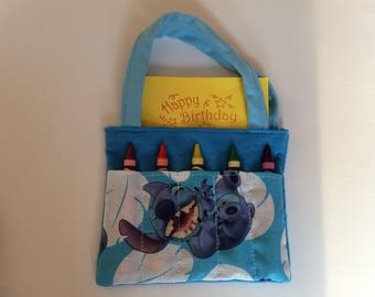 Stitch Children's Crayon Bag and Customized Paper, Birthday Party Favor