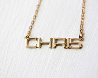 Chris Name Necklace, Chris Necklace, Vintage Name Necklace, Name Plate Necklace, Gold Name Necklace, Gold Monogram Necklace