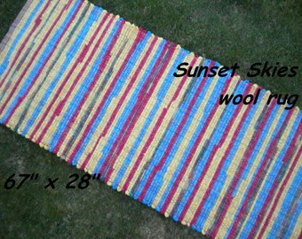 Handwoven --- Sunset Skies --- THICK Wool Fabric Rag Rug -- 67 x 28