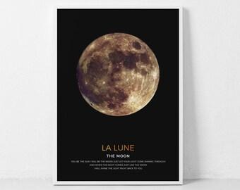 Gold Moon Wall Art, Gold La Luna, Golden Moon, Moon Phases Art Print, Moon Poster, Large Wall Art, Moon Printable Art, Lunar Art Print Moon
