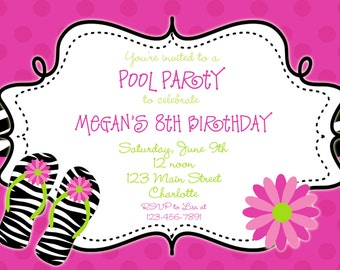 Zebra print Pool party birthday invitation -- pool party - flip flops - swimming party - You print or I print
